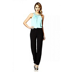 Quiz - Aqua Diamante Collar Jumpsuit