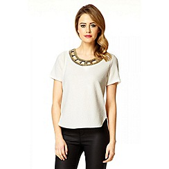 Quiz - Cream Cut Embellished Neck Top