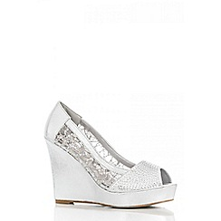 Quiz - Silver Mesh Diamante Wedges