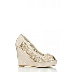 Quiz - Gold Mesh Diamante Wedges