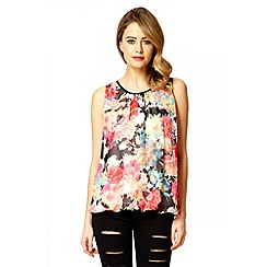 Quiz - Black And Neon Pink Floral Print Bubble Top