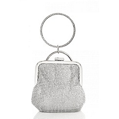 Quiz - Silver diamante hoop handle purse