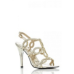 Quiz - Gold Diamante Loop High Heel Sandals