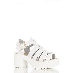 Quiz - White Chunky Strap Gladiator Sandals