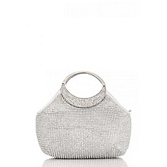 Quiz - Silver metal diamante handle purse bag