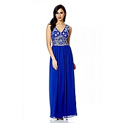 Quiz - Royal blue v neck embellished maxi dress