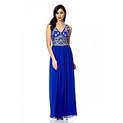 Quiz - Royal blue v neck embellished maxi dress