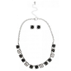 Quiz - Black square diamante set