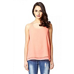 Quiz - Coral Chiffon Strappy Back Top