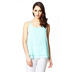 Quiz - Aqua Chiffon Strappy Back Top
