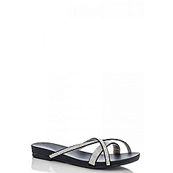 Quiz - Black diamante slip on sandals