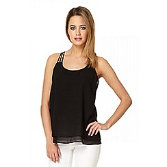 Quiz - Black chiffon strappy back top