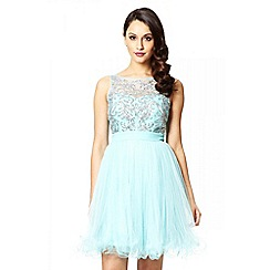 Quiz - Aqua mesh sequin embellished prom dress