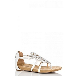 Quiz - White 3 diamante flower sandals