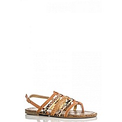 Quiz - Beige multi strap snake sandals