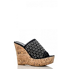 Quiz - Black cut out diamante slip on wedges
