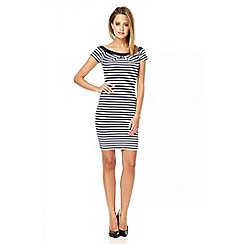 Quiz - Navy stripe textured bardot dress