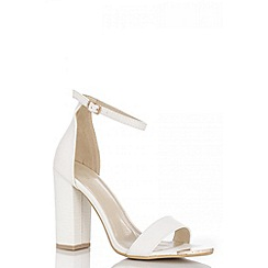 Quiz - White Lizard Block Heel Shoes