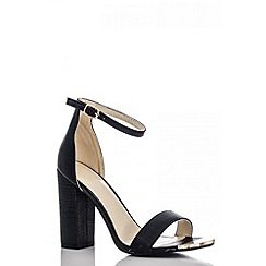 Quiz - Black Lizard Block Heel Shoes