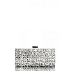 Quiz - Silver diamante facet clutch bag