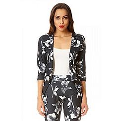 Quiz - Black floral crepe 3/4 sleeve blazer