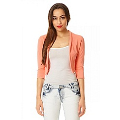 Quiz - Coral 3/4 sleeve crop jacket