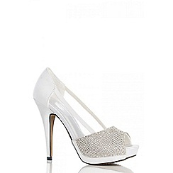 Quiz - White diamante mesh platform shoes