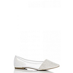 Quiz - White diamante mesh pumps