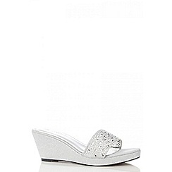 Quiz - Silver shimmer wedge sandals