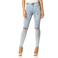 Quiz - Light blue acid wash rip knee jeggings
