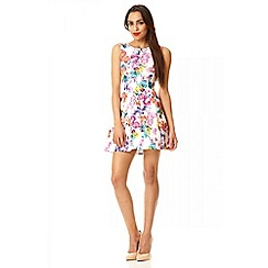 Quiz - White floral print panel flippy dress