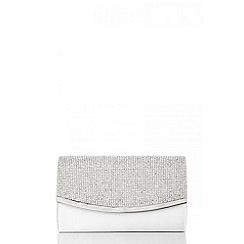 Quiz - White satin diamante small clutch bag