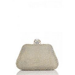 Quiz - Gold diamante jewel clip clutch bag