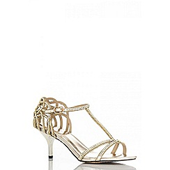 Quiz - Gold heel strap detail diamante sandals