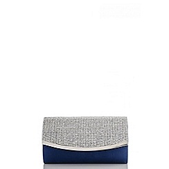 Quiz - Navy satin diamante small clutch bag