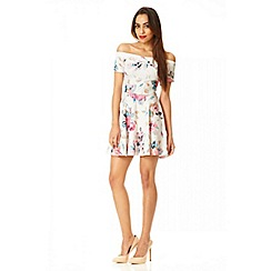 Quiz - Cream floral print crepe bardot skater dress