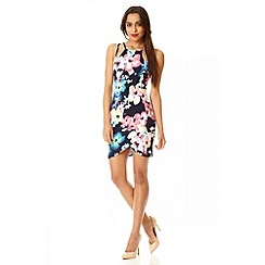 Quiz - Navy floral crossover front dress