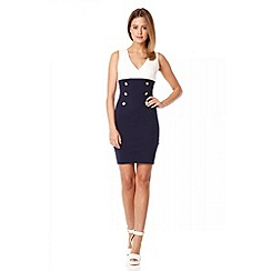 Quiz - Navy crossover front button detail dress