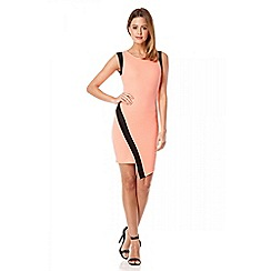 Quiz - Coral textured asymmetric front dress