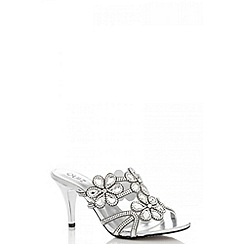 Quiz - Silver diamante flowers slip on sandals