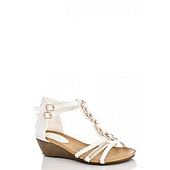 Quiz - White pearl diamante wedge sandals
