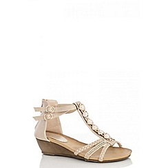 Quiz - Beige pearl diamante wedge sandals