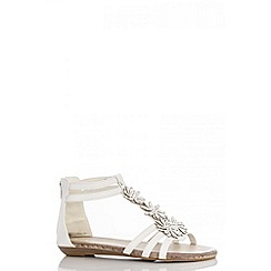 Quiz - White diamante flower sandals