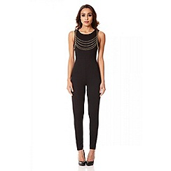Quiz - Black textured gold chain jumpsuit