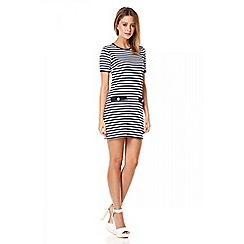 Quiz - Navy stripe gold button detail tunic dress