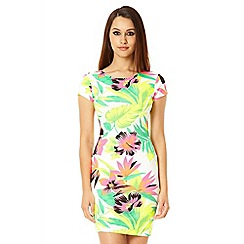 Quiz - White neon floral print dress