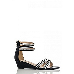 Quiz - Black diamante strap low wedge sandals