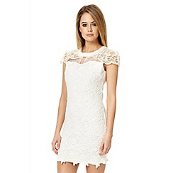 Quiz - White crocheted pearl embellished dress