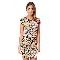Quiz - Black neon leaf print dress