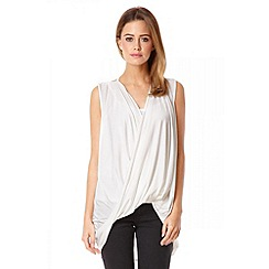 Quiz - Cream drape wrap over dip hem top